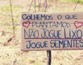 Colhemos o que plantamos. Não jogue lixo, jogue sementes