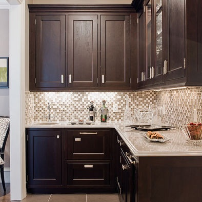 Espresso Cabinets, greige paint, glass tile backsplash: Wet Bar, Butler Pantries, Glasses Tile, Kitchens Design, Cabinets Colors, Espresso Cabinets, Dark Cabinets, Back Splash, Kitchens Ideas