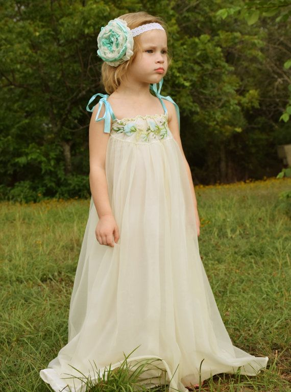 pale blue aqua pale yellow cream ivory pink vintage dress chiffon upcycle formal flower girl shabby chic size 4 5 6 antique style gown ooak
