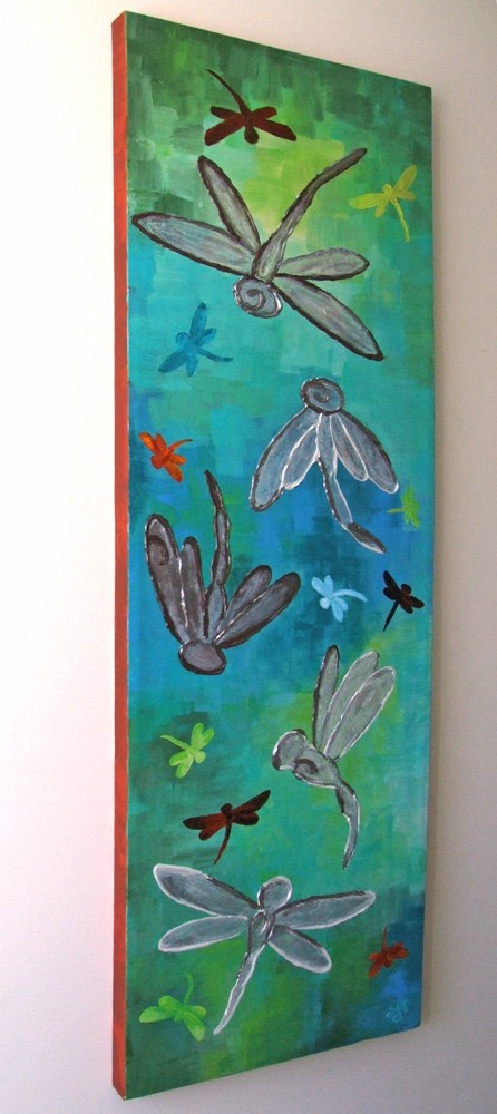 Silver dragonfly panel 10x30 acrylic canvas office art for How to canvas art