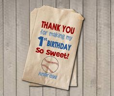 Boy Birthday Favor Bags, Baseball Candy Bags, First Birthday Favor Bag, Birthday…