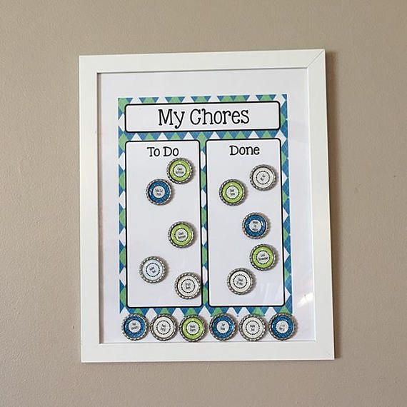 This custom made 11x14 inch Magnetic Chore Board is the perfect way to hold your child accountable and lets them see their accomplishments! Created behind a clear surface is a colorful chore chart. 15 hand made magnets can be placed anywhere on the board and include 15 different tasks! You can replace the title of My Chores with your childs name in coordinating colorful or glitter lettering. Magnets can be customized with unique chores, please send list when ordering. Visit our website to…
