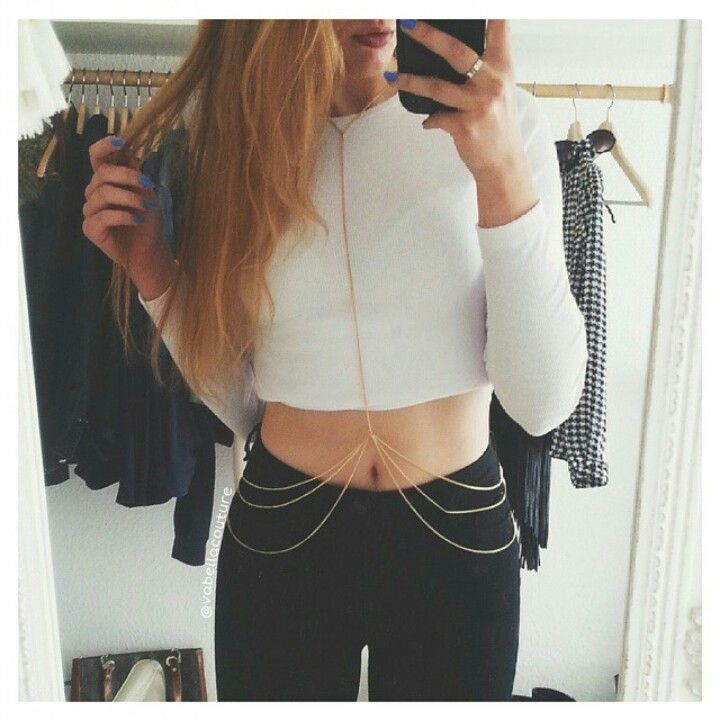 Fall Outfit // gold body chain // white long sleeved ...
