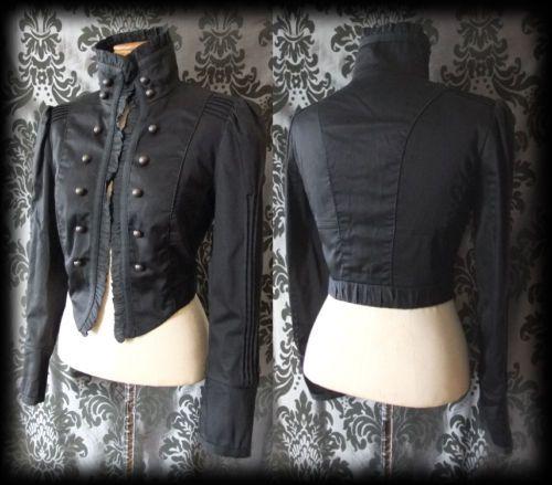 Gothic Black Button STEAMPUNK High Neck Jacket Coat 12 14 Victorian Vintage - £49.00