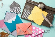 Stampin' Up! envelope punch tool. Score and punch envelopes in 66 different sizes. The measurements are provided both in inches and centimeters. You can also make boxes, cards and paper bows using this tool.