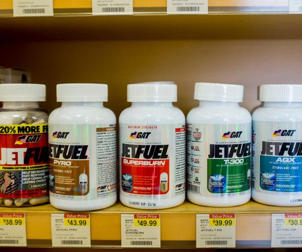 A potentially risky supplement on a vitamin store shelf. Our FDA is also the devil.