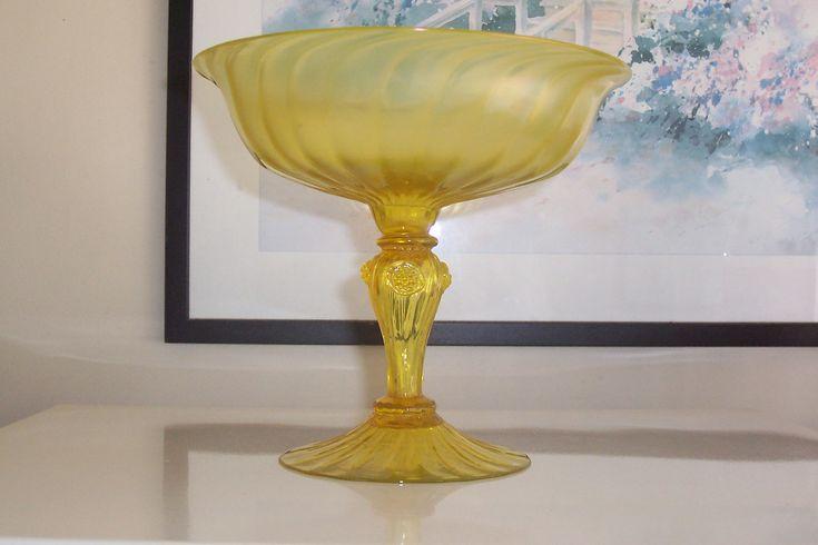 Beautiful John Walsh Walsh Uranium glass Compote 71/2'' high x 81/2'' across.......signed