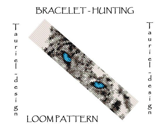 Loom pattern - animal bracelet pattern - Snow Leopard Hunting by Tauriel