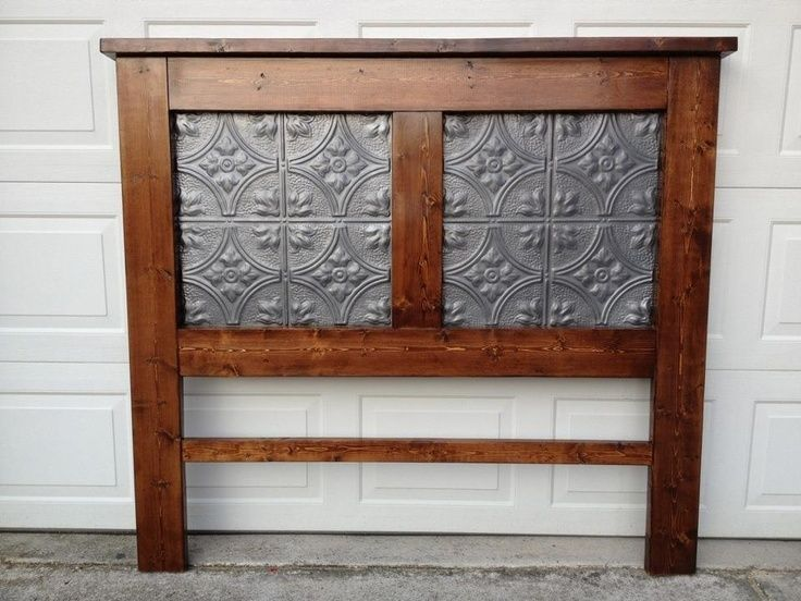 Pine Headboard with Tin Ceiling Tile Inserts
