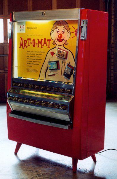 Vending machine. Art-o-mat   http://laughingsquid.com/art-o-mat-retired-cigarette-vending-machines-converted-to-sell-art/