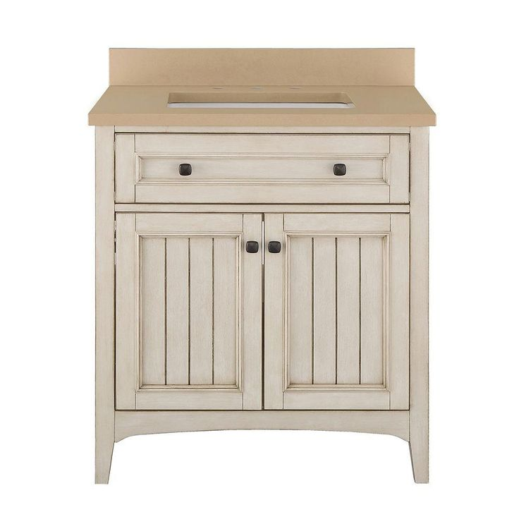 Home Decorators Collection Klein 31 in. Vanity in Antique White with Quartz Vanity Top in Beige with White Basin