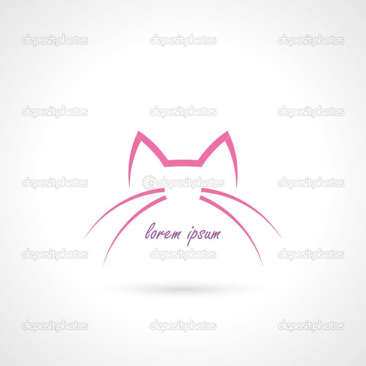 głowa kota kontury znak - Ilustracja stockowa: 52426827