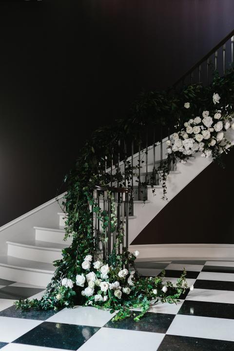Ceremony Styling / Cascading flowers by Prunella / Wedding Style Inspiration / LANE