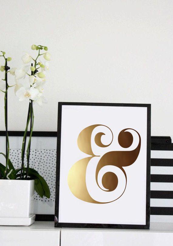Gold ampersand print art print gold foil typography for Ampersand decoration etsy