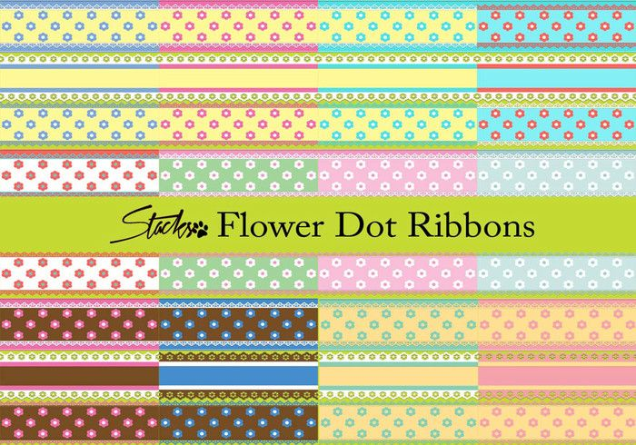 Flower Dot Ribbon Patterns