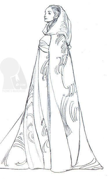 Padmé Costume Sketch - padme-naberrie-amidala-skywalker Fan Art