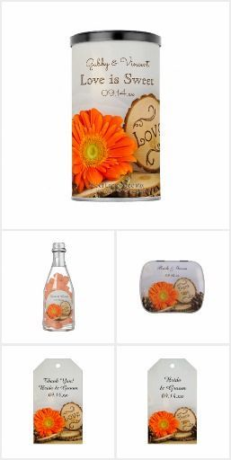 Rustic Orange Daisy Woodland Wedding Reception Set the tone for your casual yet classy outdoor woodsy marriage reception with the charming Rustic Orange Daisy Woodland Wedding Reception Products. Personalize party favors and favor tags, disposable paper coasters and napkins, menus and more. Each customizable item features a floral photograph of an orange gerber daisy flower blossom with natural wood slices and brown pine cones. #woodlandwedding