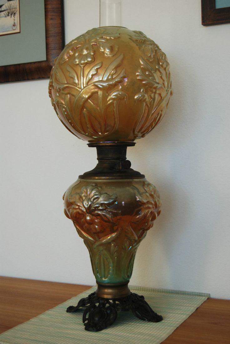 Vintage fenton gwtw iridescent marygold oil kerosene art ...