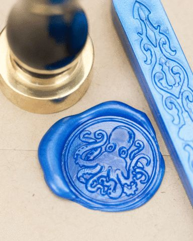 The Octopus, master of disguise and dweller of the deep has become the subject of legend and lore. Seal your letters with your own personal tiny cephalopod. These sealing wax kits make great birthday