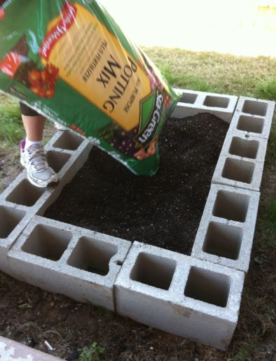 Super easy raised bed garden design. And you can put little flowers in the cinder block holes as a cute, colorful border :)