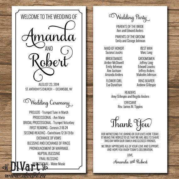 Elegant Wedding Program Ceremony PRINTABLE By DIVart