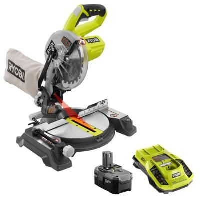 Ryobi ONE  18-Volt 7-1/4 in. Cordless Miter Saw Kit-P551-P117-P105 - The Home Depot
