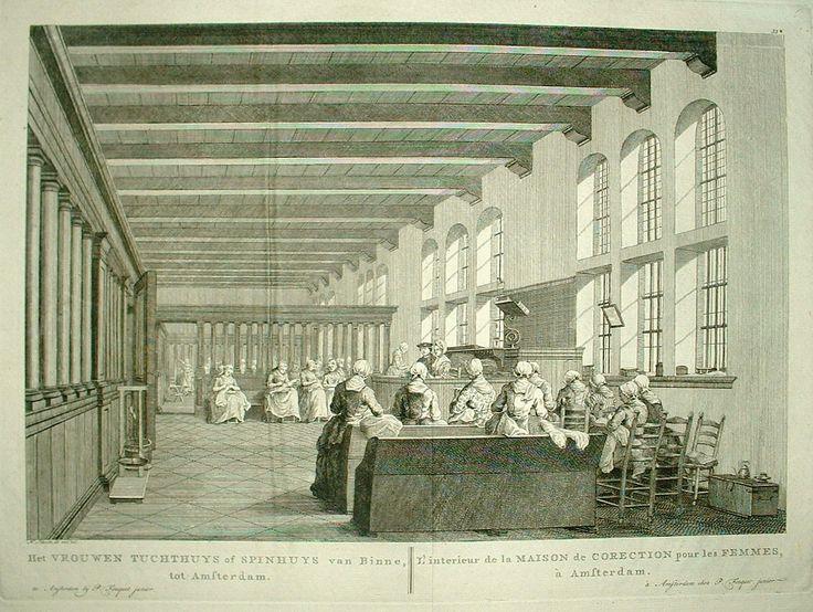 Interieur tuchthuis voor vrouwen, als tijdbesteding en maatschappelijk nut spinnen, Amsterdam, 1783