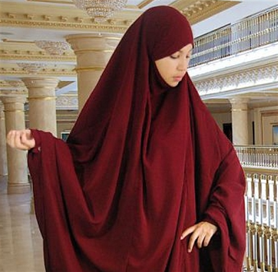 Bordeaux Khimar worn over matching abaya