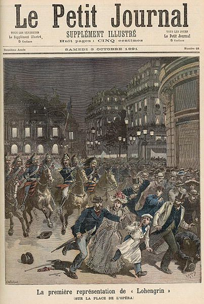 Riots in Paris objecting to the Performance of 'Lohengrin' at the Palais Garnier, from 'Le Petit Journal', 3rd October 1891 (colour litho) by Meaulle, Fortune Louis (1844-1901) & Meyer, Henri (1844-99); Private Collection; (add.info.: There was widespread French popular and press dislike of performances of music by Wagner and other German composers following the Franco-Prussian War of 1870-71 and the consequent German annexation of Alsace-Lorraine;); Giraudon; French, out of copyright