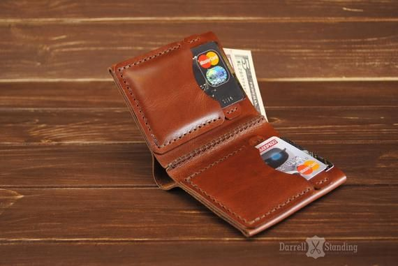 Small leather wallet Men's Leather wallet Bifold Brown small wallet Simple wallet Gift for boyfriend