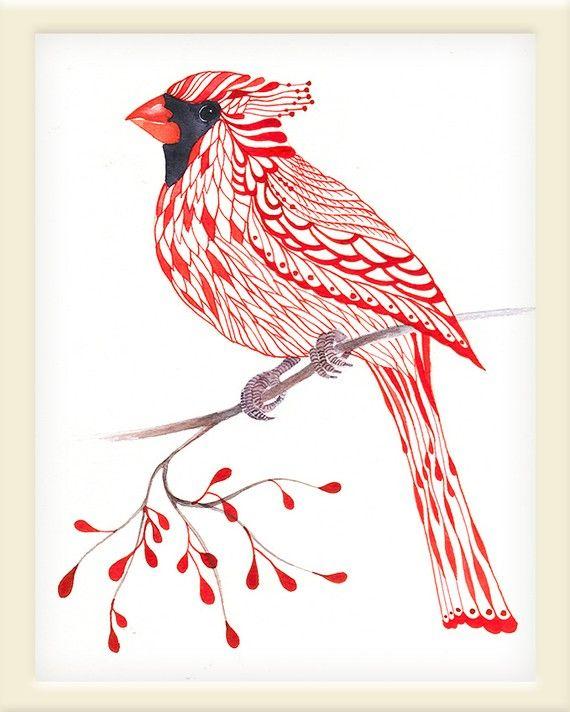 Cardinal Bird lacy cardinal on branch art print size by TevaKiwi