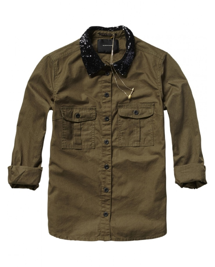 Army shirt with sequin collar - Shirts - Scotch & Soda