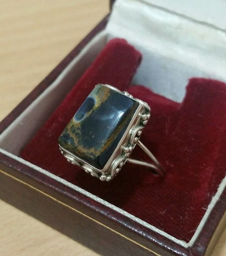 VINTAGE 925 SOLID SILVER RING, LARGE TIGER'S EYE GEMSTONE SIZE R 1/2 in Jewellery & Watches, Fine Jewellery, Fine Rings | eBay