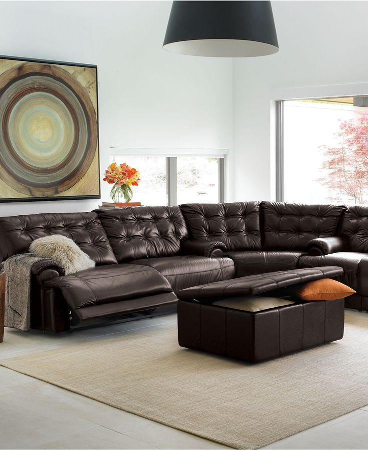 Could be interesting...  (Dylan Leather Sectional Living Room Furniture Collection, Reclining - furniture - Macy's)