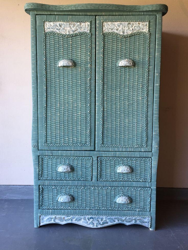 Hand painted pier one wicker armoire cabinet storage - Pier one white wicker bedroom furniture ...