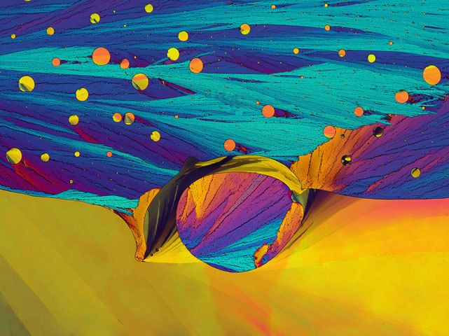 """biocanvas: """" A crystallized mixture of chlorobenzyl alcohol (a solvent for inks and paints), resorcinal (a medical disinfectant), and sulfur. Image by John Hart, University of Colorado. """""""