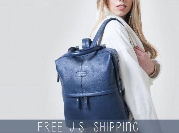 Mochila de cuero, mochila mujer, mochila azul, mochila mujer, morral del ordenador portátil, mochila para mujer, boho mochila, cuero genuino
