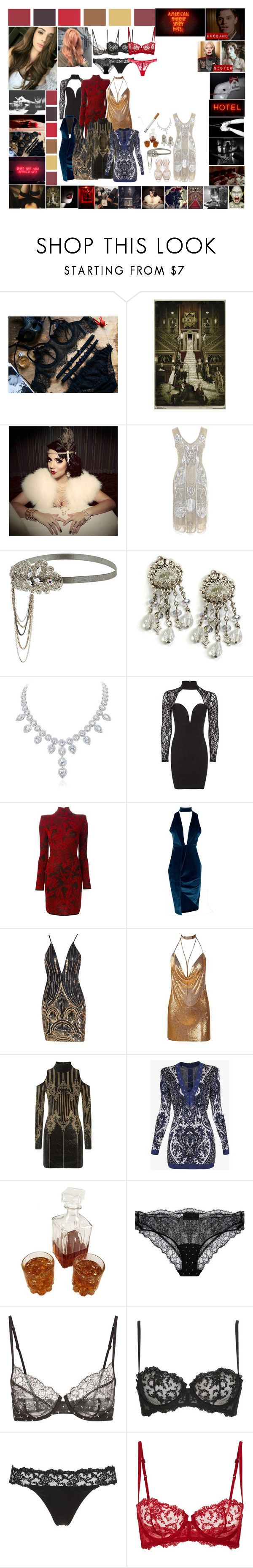 """American horror stories Hotel: Aurora March"" by silentdoll ❤ liked on Polyvore featuring Gatsby, Unique Vintage, Miss Selfridge, Sweet Romance, Rare London, Balmain, Boohoo and La Perla"