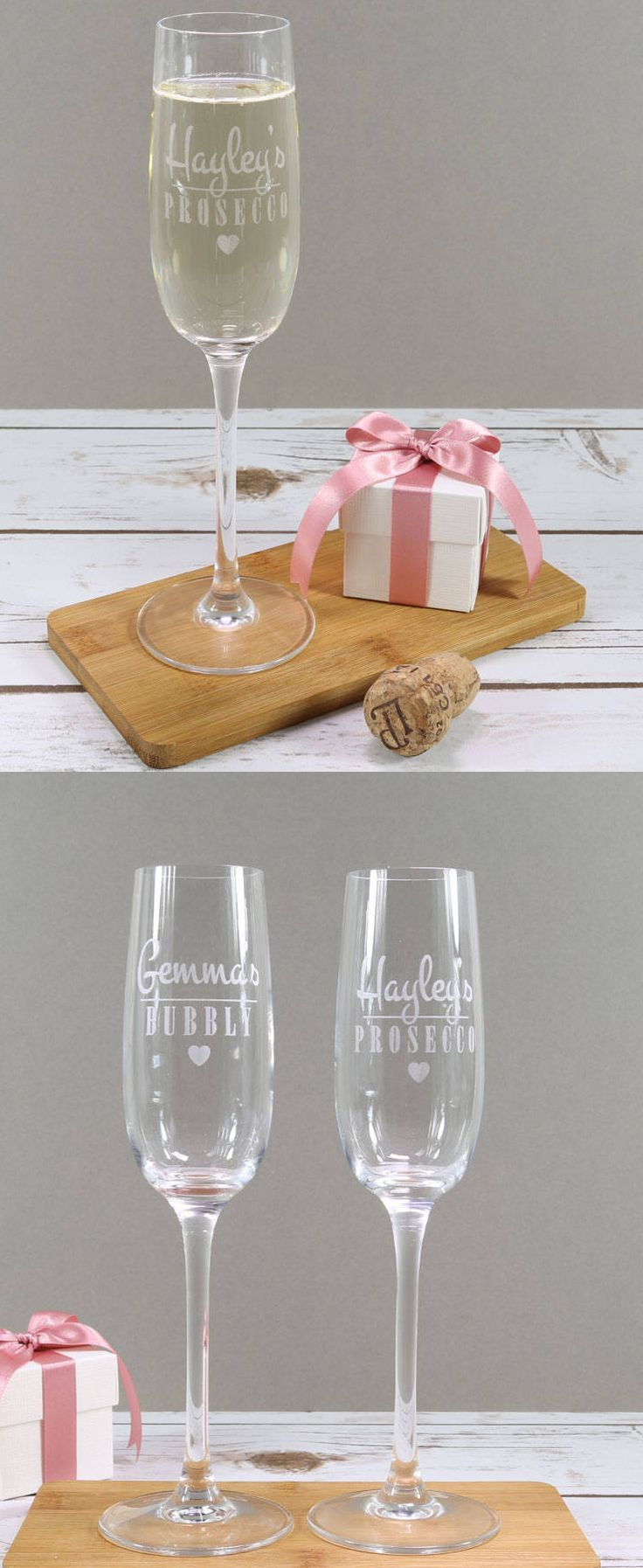 Personalised Bridesmaids Gifts £8.50. Prosecco glass etched with your name of choice. Perfect for champagne or prosecco lovers! Or buy a pair for that special couple or for a Valentine's or christmas gift? The glass can also be made with the words Bubbly, Champagne or Champers. Wedding Gifts. Christmas Presents Gift Ideas Inspiration. #wedding #giftsforher #christmaspresents #giftinspiration #bridesmaid #affiliatelink #custommade #personalised