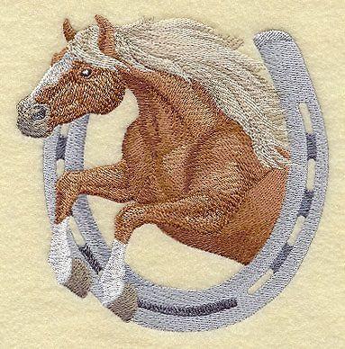 Finished Embroidery Horseshoe Horse Haflinger Horse