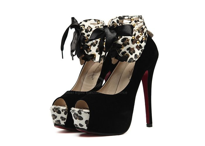 Wholesale Sexy Women's Peep Toed Shoes With Lace-Up and Leopard Veins Design (BLACK,39), Peep Toe - Rosewholesale.com