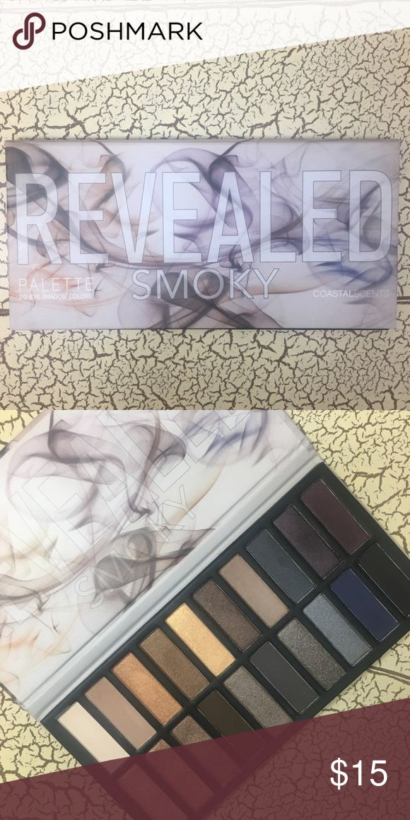 """Coastal Scents Revealed Smokey Palette Revealed smoky eyeshadow palette. Features twenty sultry eye shadows! Absolutely love this companies shadows and palettes! I have collected many and trying to downsize!   Offers welcome!🌿 Bundle to save 10%!  Dimensions of palette: 7.25"""" L x 3.75"""" W Coastal Scents Makeup Eyeshadow"""
