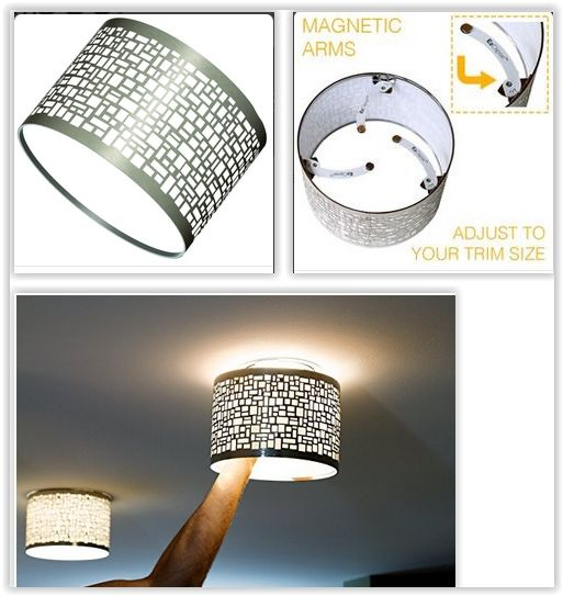 Magnetic Shade For Recessed Lighting ... dramatically transform the look of a room in seconds with the EzClipse Shade line. The shades fully cover the existing trim on your recessed lighting & will protrude from the ceiling at various heights, depending on the model. Both ends of the shade are open & allow the majority of the light to pass straight through ............. #DIY #light #magnetic #electrical #recessedlight #kitchen #livingroom #familyroom #bedroom #shade #decor #crafts
