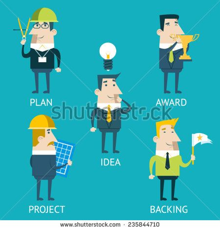 Businessman Cartoon Characters Business and Marketing Idea Steps Icons Set Plan Concept Infographics on Stylish Background Modern Flat Design Template Vector Illustration