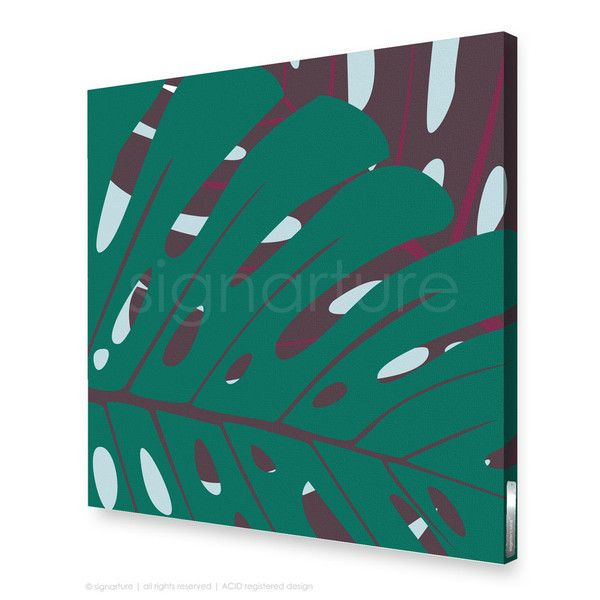 noosa canvas print [53S]   Signarture. This contemporary artwork features the striking monstera leaves of tropical and subtropical regions. The monstera leaf is a stylist's favourite, and in sophisticated teal and burgundy, an easy way to bring the outside in...