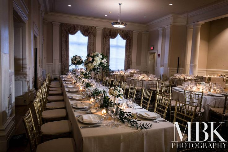 Ceremony and reception held at The Carnegie Institute for Science in Washington, D.C. #whiteweddings #whitearrangements   Photos Courtesy of Michael Bennett Kress Photography.