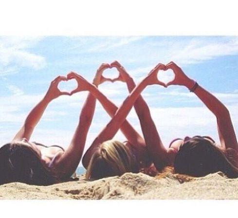 3 Personen, Freundschaft, Strand, Herz