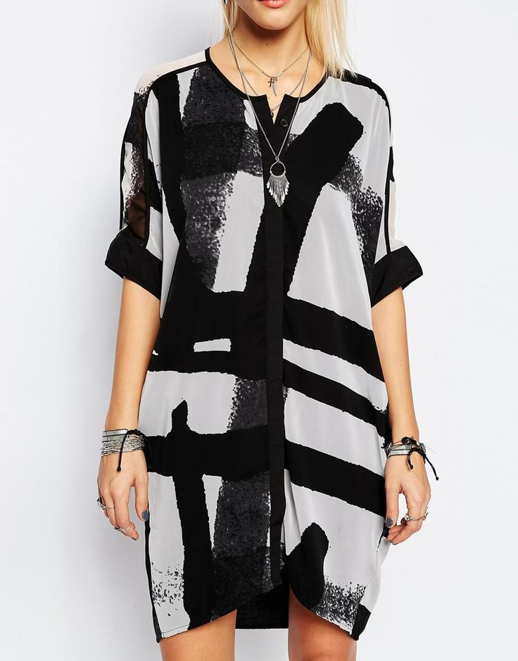 Religion | Religion Oversized Shirt Dress With Abstract Print at ASOS