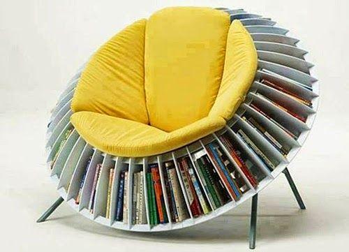 Unique Bookshelves Design Ideas with orange Sofa Built in