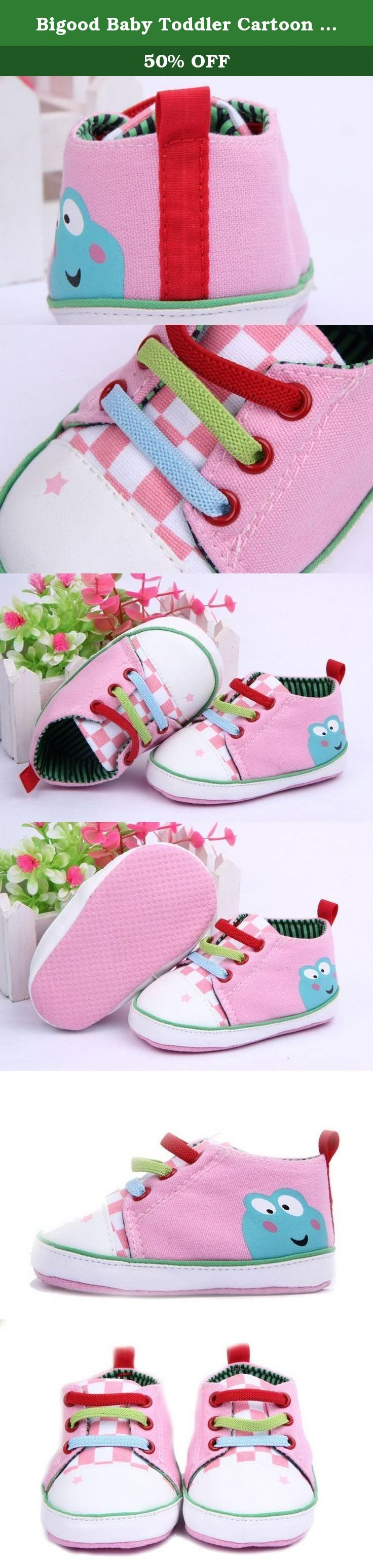 Bigood Baby Toddler Cartoon Frog Anti-Slip Shoes First Walker Sneakers 13cm Pink. Material : Canvas Size:Sole Length 13cm Color:Pink These shoes are made from soft material and allows little feet to grow freely. They are soft and perfect for your precious one to learn how to walk, also has an anti-slip outer sole. These shoes fit perfectly the shape of your child's feet and wrap gentle. Great gift for your baby or your friend's. Color may vary slightly due to the color calibration of each...